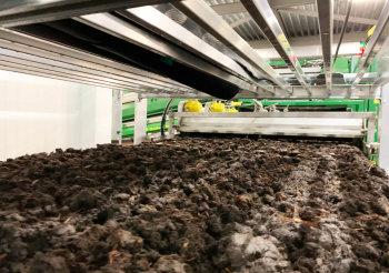 Загрузка первого компоста в камеры выращивания грибов
